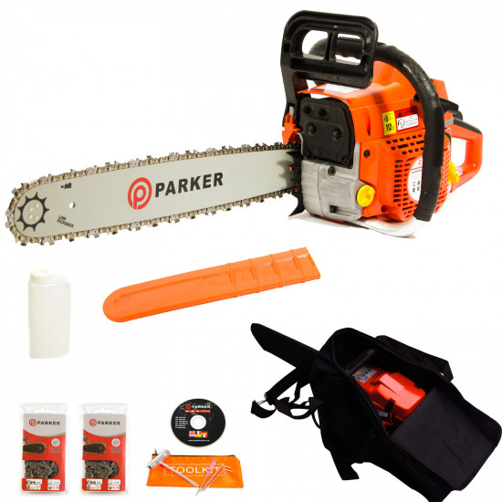 "52cc 20"" Petrol Chainsaw + 2 x Chains + More"