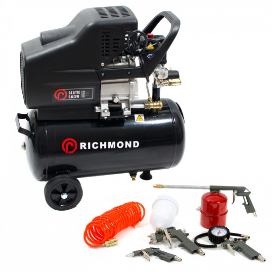 24 Litre Air Compressor & Tool Kit - 9.6 CFM, 2.5 HP, 24L
