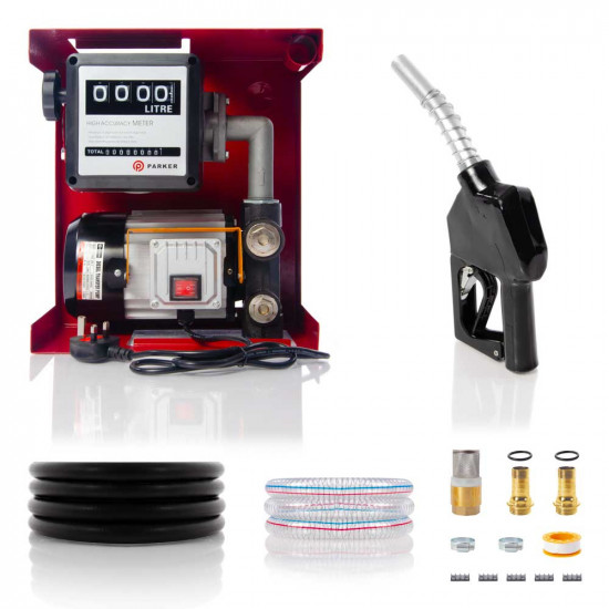 230V Wall Mounted Diesel Transfer Fuel Pump Kit - With Automatic Nozzle