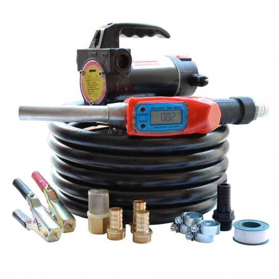 24V Portable Diesel Transfer Fuel Pump Kit - With Digital Flow Meter