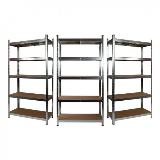 3 x Galvanised Garage Shelving Unit (175KG) - Boltless
