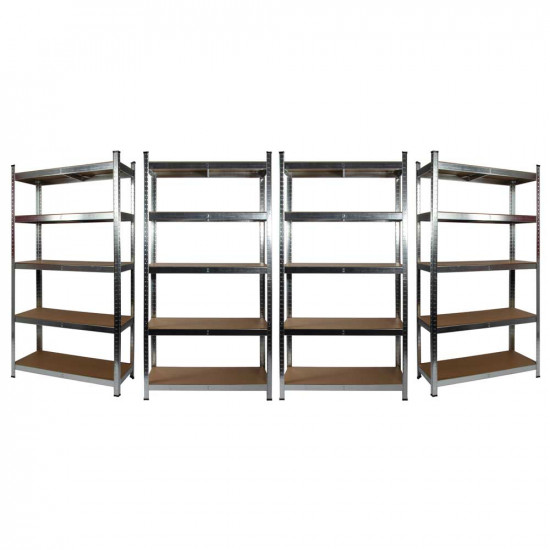 4 x Galvanised Garage Shelving Unit (175KG) - Boltless