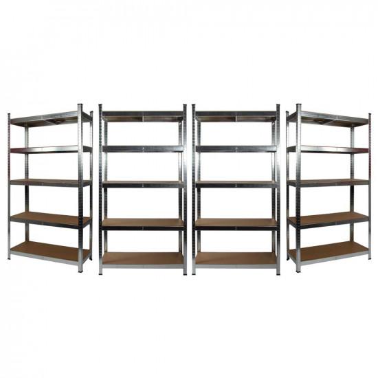 4 x Galvanised Garage Shelving Unit (175KG) - Boltless