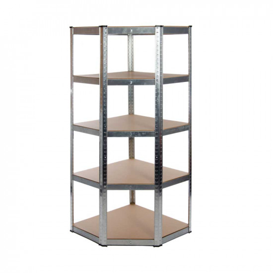 Galvanised Garage Corner Shelving Unit (175KG) - Boltless