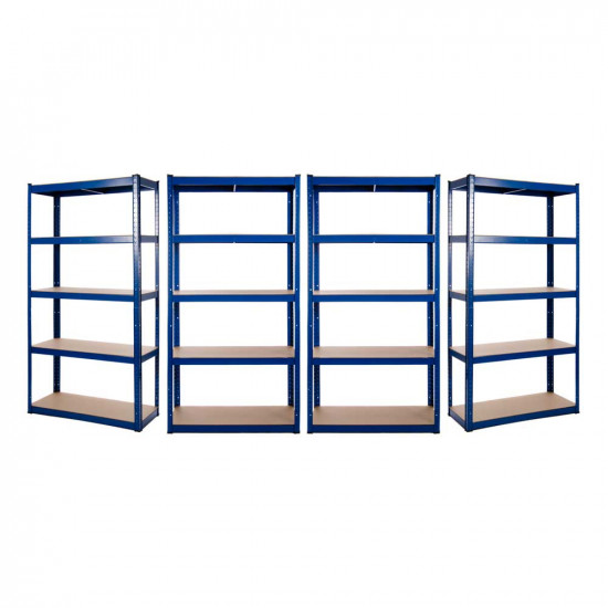 4 x Powder Coated Garage Shelving Unit (175KG) - Boltless