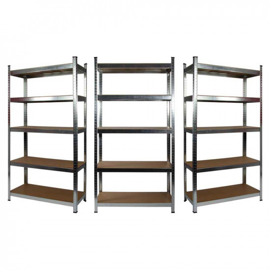 3 x Galvanised Garage Shelving Unit (265KG) - Boltless