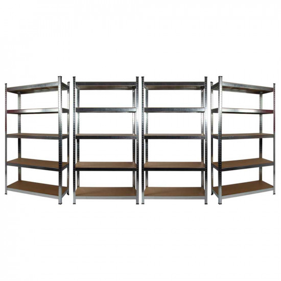 4 x Galvanised Garage Shelving Unit (265KG) - Boltless