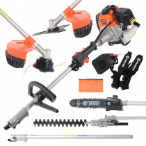 52cc Multi Function 5 in 1 Garden Tool - Brush Cutter, Grass Trimmer, Chainsaw, Hedge Trimmer & More