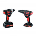 Cordless Hammer Drill & Impact Driver Set - 18V 3.0AH Li-Ion