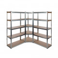 Galvanised Garage Shelving Corner Unit 3 Pack (175KG) - Boltless