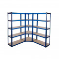 Powder Coated Garage Shelving Corner Unit 3 Pack (175KG) - Boltless