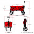 Heavy Duty Foldable Garden Trolley Cart Wagon - Pink