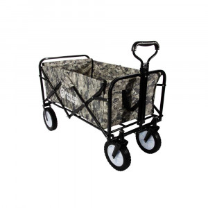 Heavy Duty Foldable Garden Trolley Cart Wagon - Grey Digital Camouflage