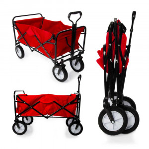 Heavy Duty Foldable Garden Trolley Cart Wagon - Red